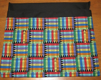 1 SMALL Chair Pocket Seat Desk Sack CRAYONS Fabric 2 POCKETS Get Organized