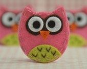 Set of 6pcs handmade felt baby owl--dark carnation (FT929)