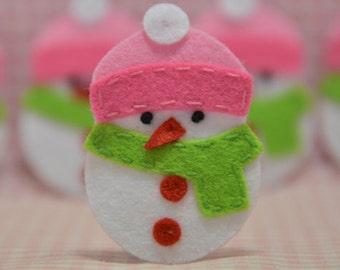 Set of 6pcs handmade felt Snowman--baby pink (FT931)