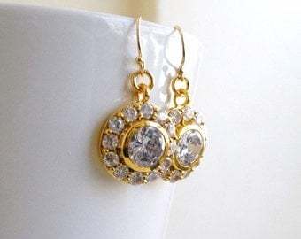 Bridal Earrings Round CZ Gold Filled CNE8PG