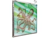 Octopus Fused Glass Suncatcher Light Catcher