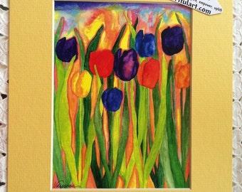 MOTHER'S GARDEN 8x10 Tulips PRINT Colorful Happy Yellow Bathroom Kitchen Decor Sunny Mom Gift 4 Gardener Heartful Art by Raphaella Vaisseau
