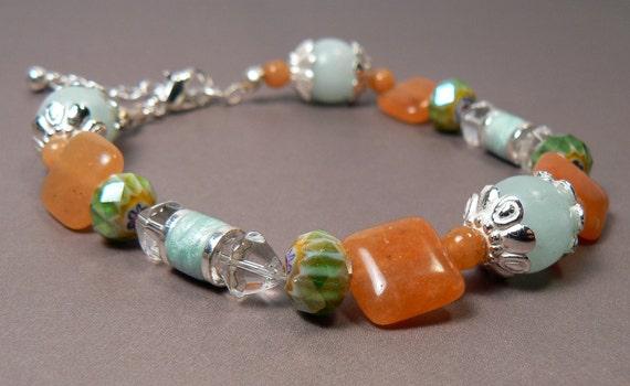 Semi Precious Orange Aventurine Stone Bracelet, Venetian Millefiori Crystal Bracelet, Amazonite Stone Bracelet