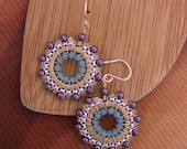 Clearance Sale - Drop, Dangle, Hoop Earrings Beaded In Gold, Silver, Dark Purple, Silk and Pacific Opal, Jewelry, Wedding