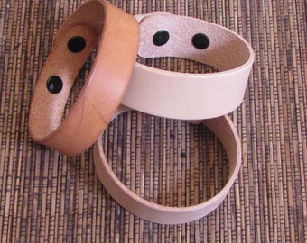 1 inch leather cuff bracelet blanks 2 with snaps 2 - see example fits 7.5 inch and 8.5 inch