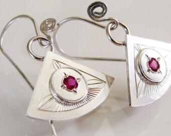 Hand Engraved Sterling Silver Earrings with Lab Grown Ruby