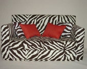 Doll Sofa - Zebra Print  Dark Brown Modern Handmade 18 inch American Girl Doll Furniture