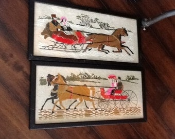 Pair Vintage Framed Crewel Embroidery Horses Buggy and Sleigh