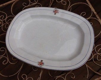 Vintage Antique Well Loved Old Creamy White Oval Meat Platter with Baskets of Flowers EDWIN KNOWLES