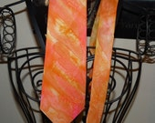 Hand Painted Silk Neck Tie RED SUNSET