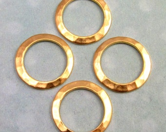 Small Hammered Ring Connector, Matte Gold Brass, 13 MM 4-Pc. AG227