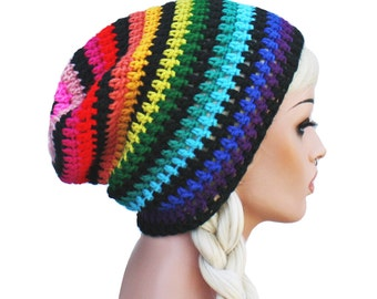 Rainbow Slouch Beanie Crochet Slouch Striped Beanie Hat Gay Pride