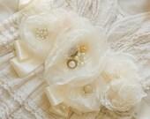 Custom Ivory Chiffon / Organza Wedding dress sash , Sash beaded sash organza dress Sash  vintage wedding dress sash  // wedding accessories