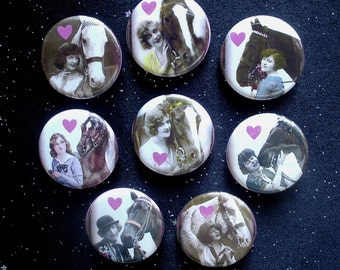 """I Heart My Horse 1.25"""" Magnets or Pinback Buttons - Set of 8"""