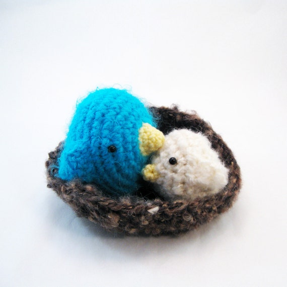 Amigurumi Crochet Pattern - Sweet Birds Family and Nest Collection