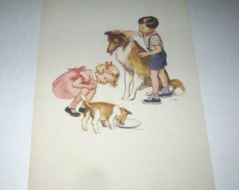 Vintage 1950s Over Sized School Picture Card or Poster with Little Boy and Girl and Their Dogs, Pets