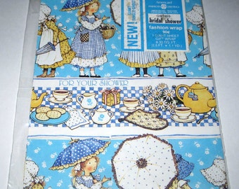 Vintage Bridal or Wedding Shower Wrapping Paper or Gift Wrap with Holly Hobbie by American Greetings