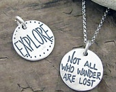Not All Who Wander Are Lost Necklace - Inspirational Jewelry - Tolkien Quote Jewelry