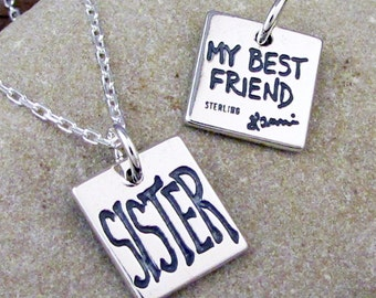 Sister Necklace - Sister Jewelry, Big Sister Little Sister Charm Necklace #SP-21