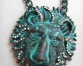 LION LEON TIGER fierce rhianna  big blue antique distressed crystal  metal necklace thick chain painted jungle patina amazon species wild
