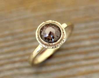 Brown Rose Cut Diamond Ring, Rose Cut Gold Ring, Hammered Gold Ring with Natural Cognac or Champagne Diamond