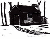 Thoreau's Cabin in the Woods, Linocut Print, Black Ink on White Paper