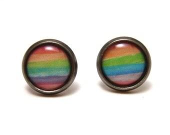 Watercolor Rainbow Striped Earrings on gunmetal post studs - SMALL 10mm