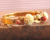Vintage Hinged Bangle Bracelet With Carved Bone Roses And Faux Coral