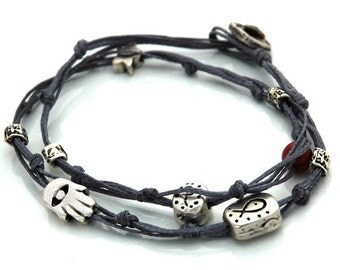 Double Wrapping Charms Bracelet for Protection & Good Luck