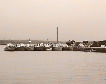 Ireland Photograph, Nautical Nautical, Sepia Style, Fishing Boats, County Kerry, Wall Decor, Irish Print,  Boat Decor, Brown And Beige