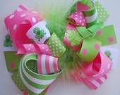 boutique FUNKY fun hot PINK and lime green FROG hair bow clip
