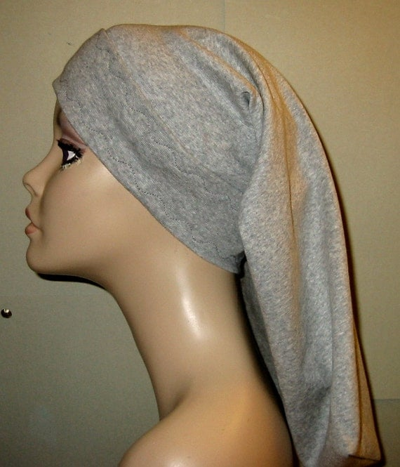 Women's Gray Snood, Chef Hat, Hijab, Modest Headcover, Jewish Hat