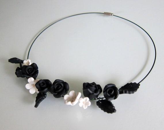 Black Rose Choker - Polymer Clay