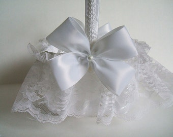 "Square Brocade Basket Handmade ""Nuance""  Flowergirl White or Ivory"