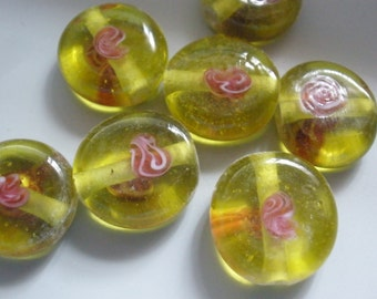 Vintage Glass Beads (6) Chartreuse & Rose Handmade Beads