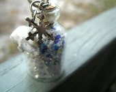 Small Glass Bottle w/ Winter theme Polar Bear & Snowflake - Necklace Pendant