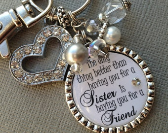 Sister Gift Personalized Keychain Purse Clip Wedding