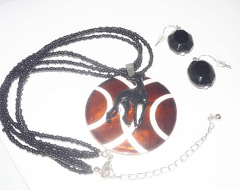 Bead Necklace and Earrings Set w Greyhound Dog Brown/White Shell Pendant