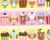 SALE Owls and Cupcakes Fabric Moda Cherry on Top by Keiki Cotton Quilting Fabric 1 Yard