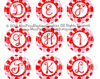 4x6 - HEART VALENTINE SAYINGS - Instant Download -  Dots Hearts Full Alphabets-  One Inch Bottlecap Graphic Image Collage Sheets - No.914