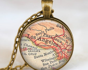 Los Angeles map necklace , los angeles pendant, los angeles map jewelry gift for men women with gift bag