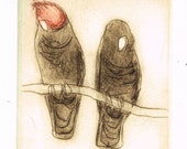 Hand Pulled Dry Point Etching Of A Pair Of Gang Gangs, Australian Birds