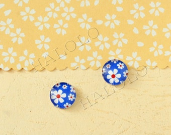 Sale - 10pcs handmade blue flowers parsley clear glass dome cabochons 12mm (12-0807)