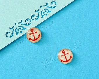 10 pcs handmade red anchor  glass cabochons 12mm (12-0816)