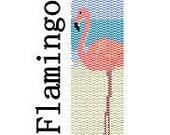 Peyote Bracelet Pattern Flamingo Bird on Beach Digital PDF File 2 Drop Peyote Delica Seed Beads