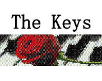 Peyote Pattern Elegant Rose on Piano Keys Cuff Bracelet Pattern Delica Seed Beads Digital File PDF 2 Drop Peyote Stitch