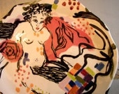 plate ceramic home decor wall decor serving plate modern figurative nude white red and black art plate