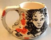 ceramic MUG cup figurative  women faces portraits red black white OOAK art