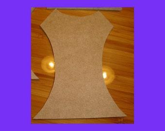 Large Unfinished Mdf Wood Lady's Dress Bodice Shape Mosaic Base/Craft Shape 14 Inch