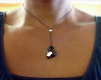 black heart necklaces - black heart pendant necklace - black Swarovski crystal heart - Valentines Day gifts for her